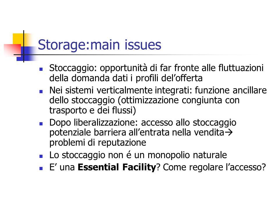 Storage:main issues Stoccaggio: opportunità di far fronte alle fluttuazioni della domanda dati i profili del'offerta.