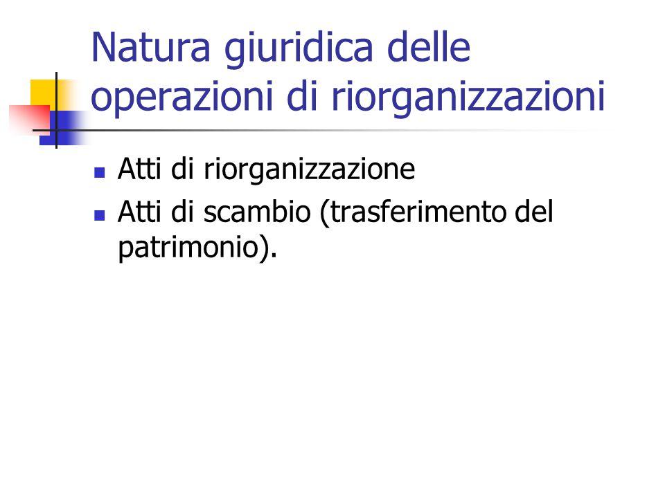 Natura giuridica delle operazioni di riorganizzazioni