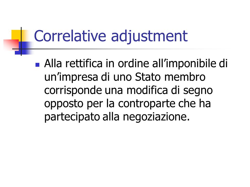 Correlative adjustment