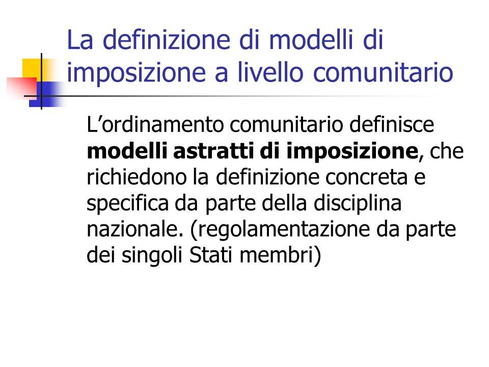 La definizione di modelli di imposizione a livello comunitario