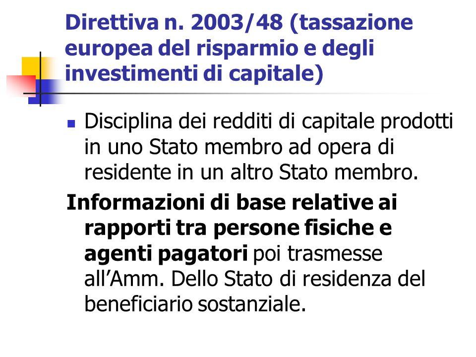 Direttiva n. 2003/48 (tassazione europea del risparmio e degli investimenti di capitale)