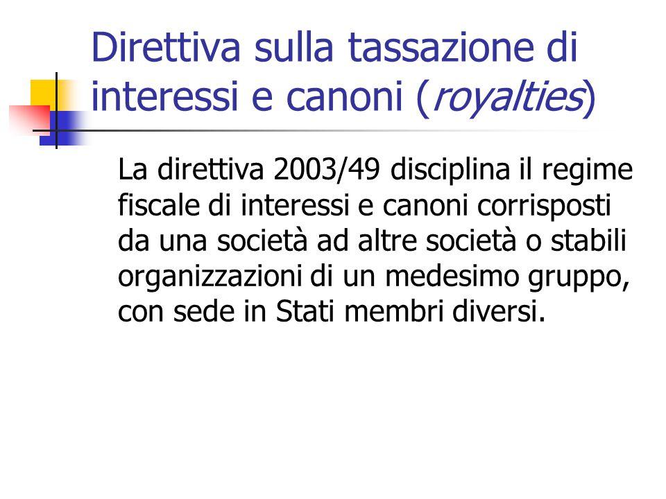 Direttiva sulla tassazione di interessi e canoni (royalties)