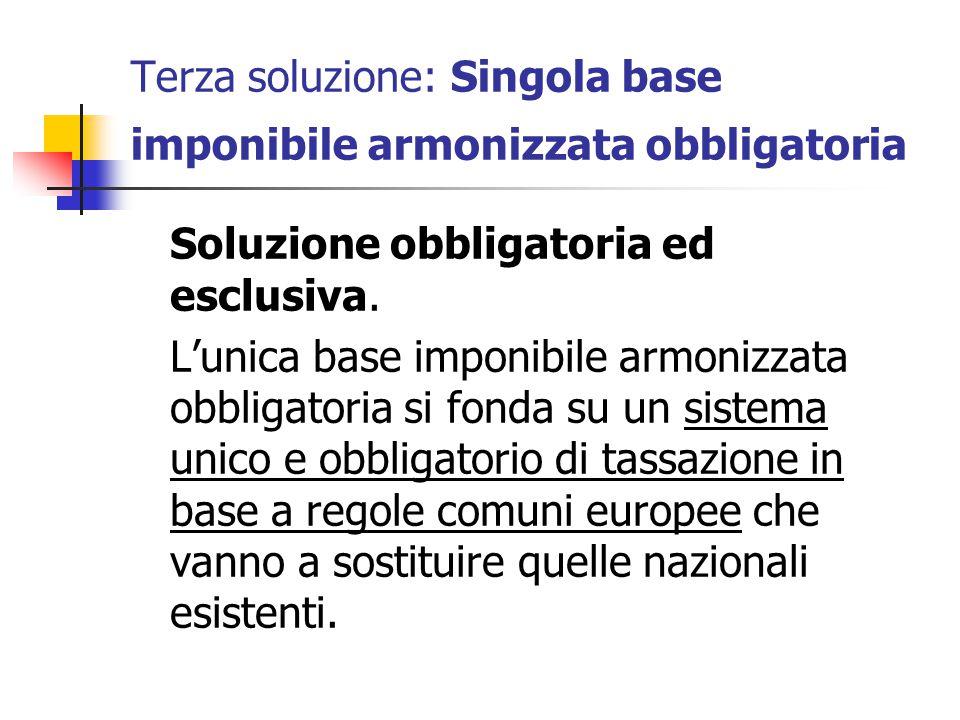 Terza soluzione: Singola base imponibile armonizzata obbligatoria