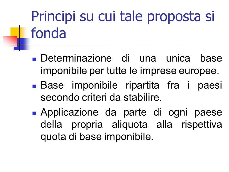 Principi su cui tale proposta si fonda