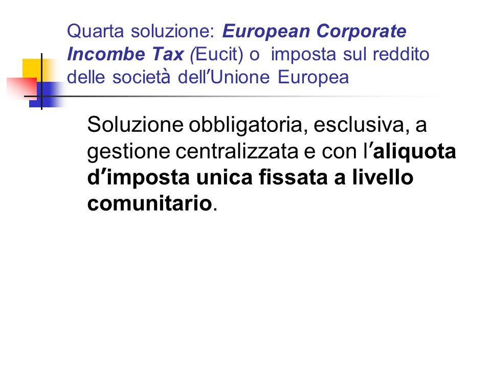 Quarta soluzione: European Corporate Incombe Tax (Eucit) o imposta sul reddito delle società dell'Unione Europea