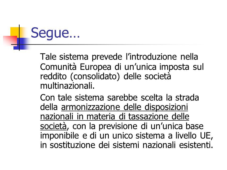 Segue… Tale sistema prevede l'introduzione nella Comunità Europea di un'unica imposta sul reddito (consolidato) delle società multinazionali.