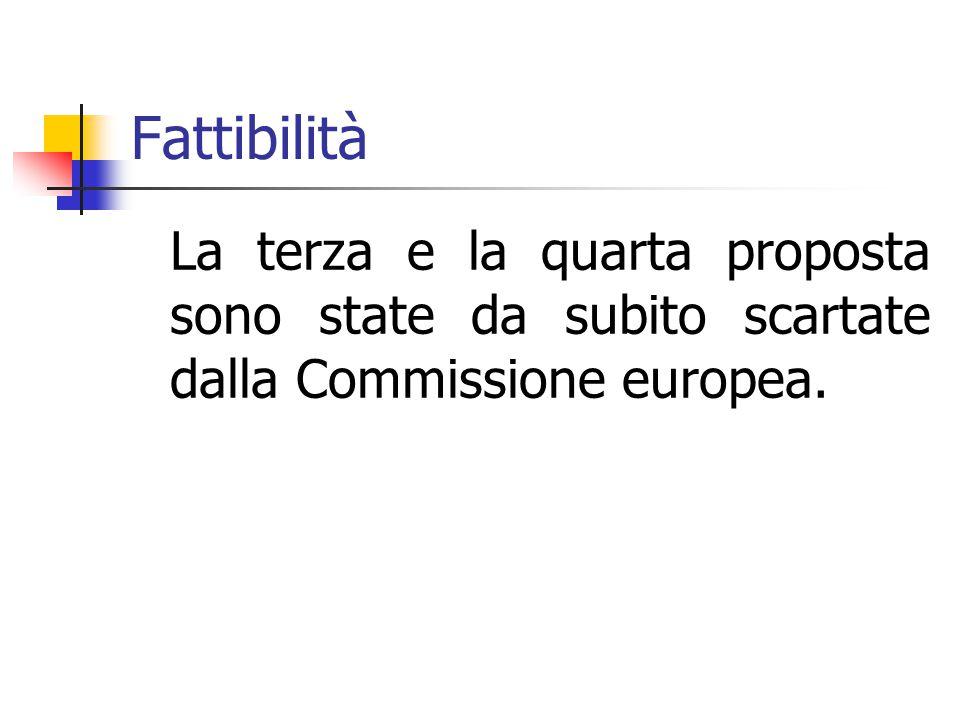 Fattibilità La terza e la quarta proposta sono state da subito scartate dalla Commissione europea.