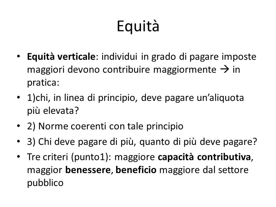 Equità Equità verticale: individui in grado di pagare imposte maggiori devono contribuire maggiormente  in pratica: