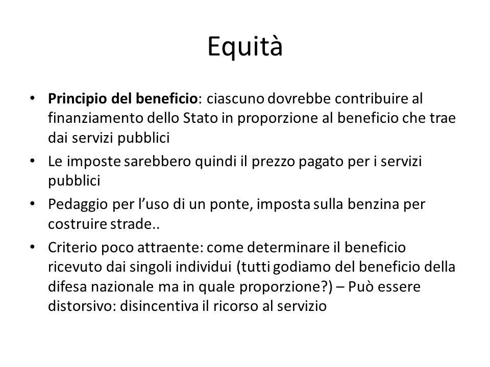 Equità Principio del beneficio: ciascuno dovrebbe contribuire al finanziamento dello Stato in proporzione al beneficio che trae dai servizi pubblici.