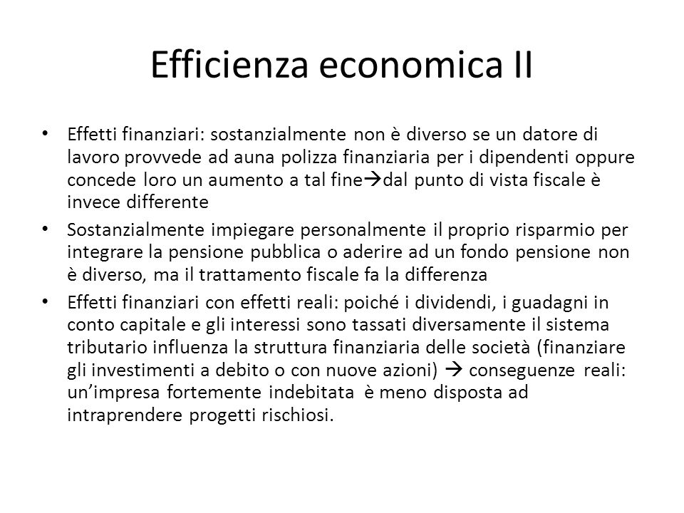 Efficienza economica II