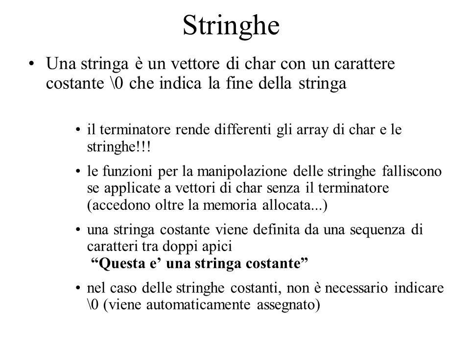 Stringhe Una stringa è un vettore di char con un carattere costante \0 che indica la fine della stringa.