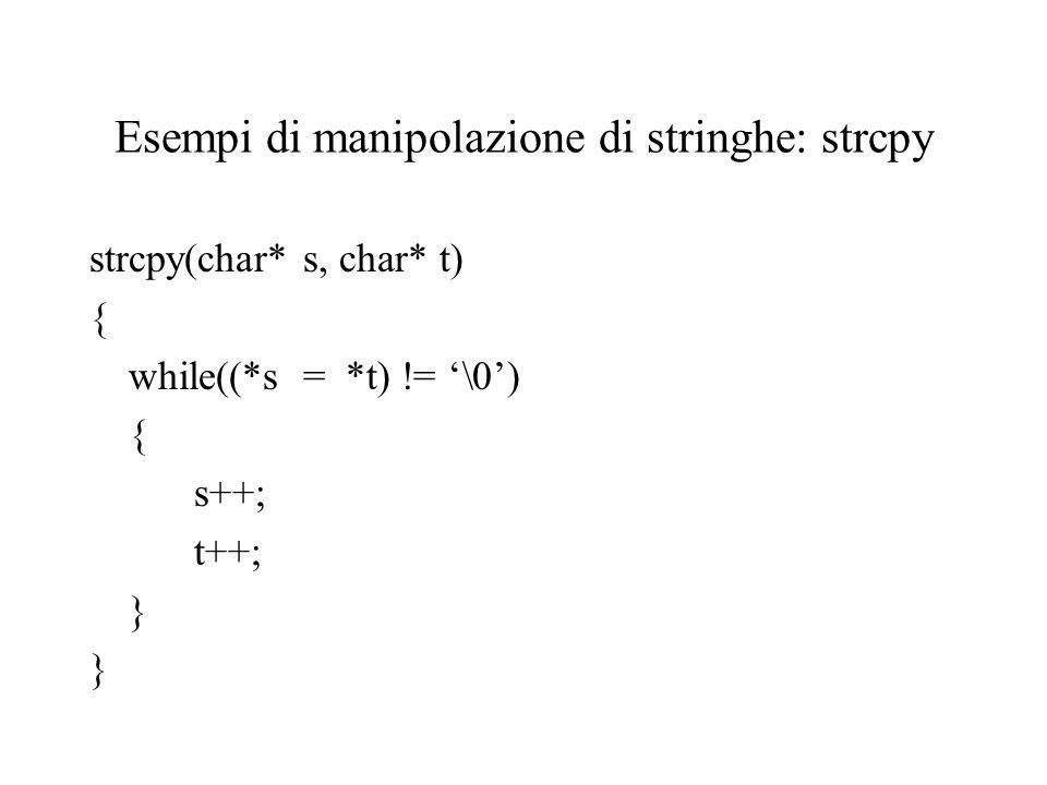 Esempi di manipolazione di stringhe: strcpy