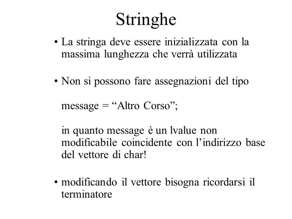 Stringhe La stringa deve essere inizializzata con la massima lunghezza che verrà utilizzata.
