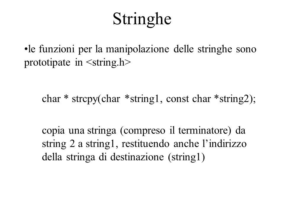 Stringhe le funzioni per la manipolazione delle stringhe sono prototipate in <string.h> char * strcpy(char *string1, const char *string2);