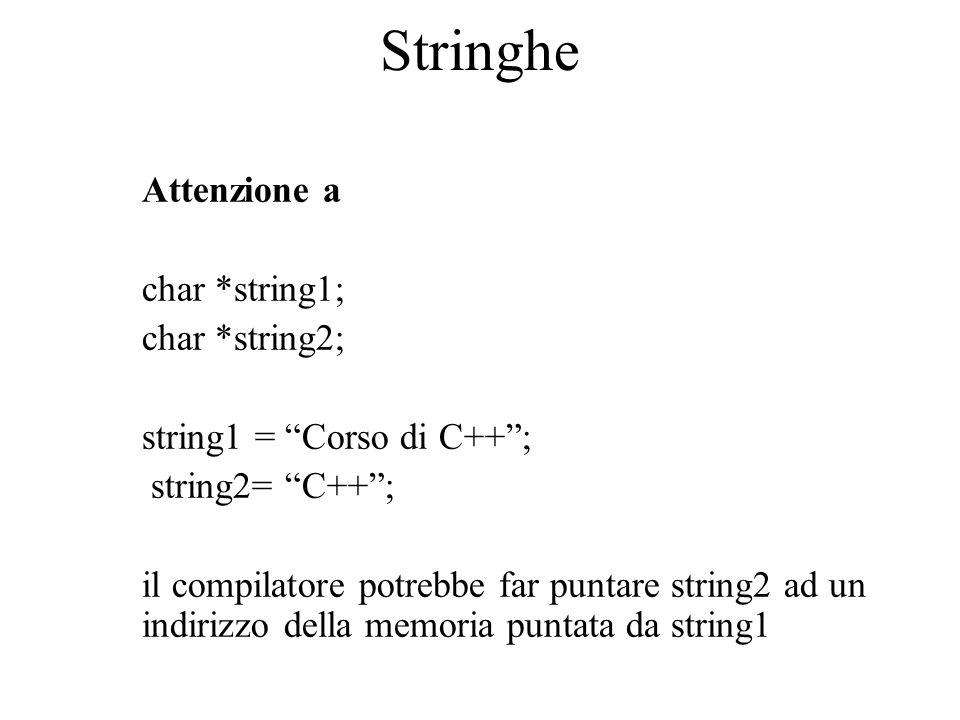 Stringhe Attenzione a char *string1; char *string2;