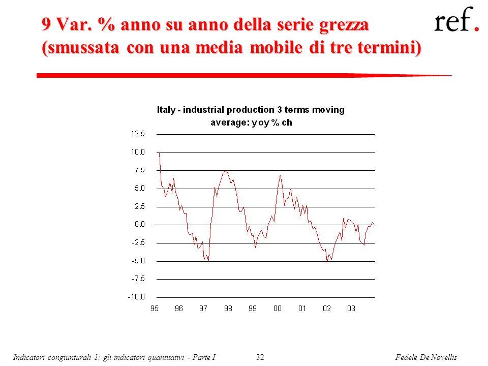 9 Var. % anno su anno della serie grezza (smussata con una media mobile di tre termini)