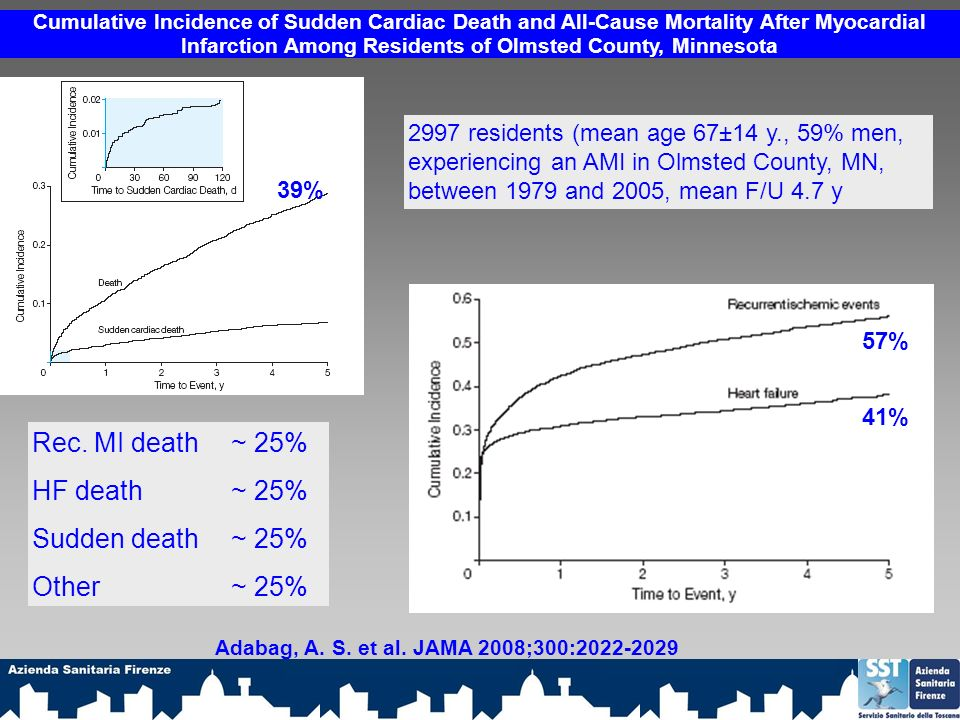 Rec. MI death ~ 25% HF death ~ 25% Sudden death ~ 25% Other ~ 25%