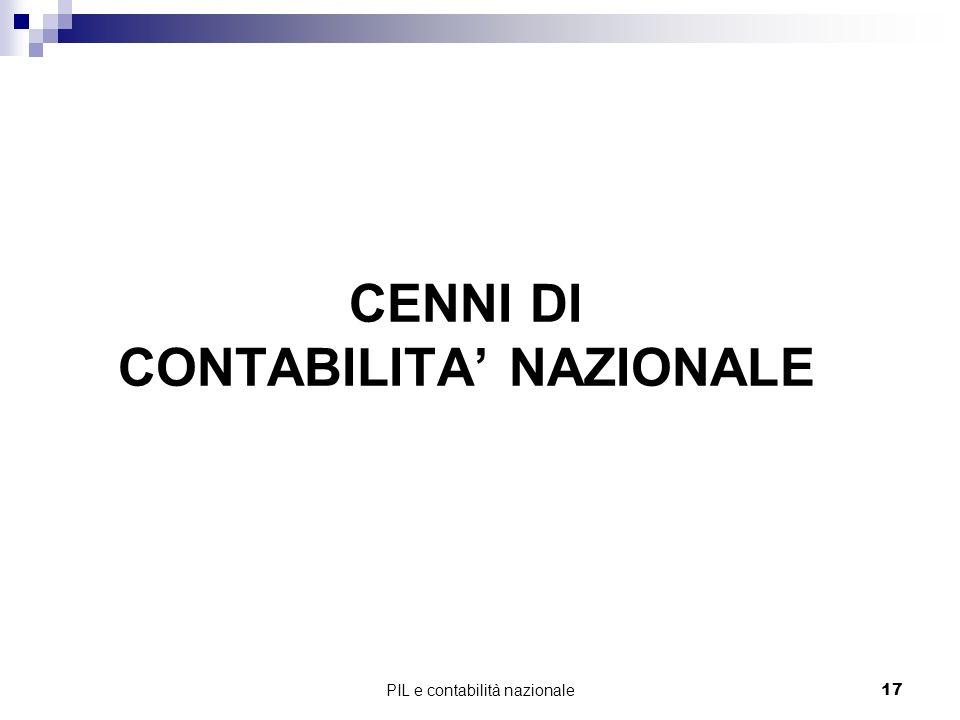 CENNI DI CONTABILITA' NAZIONALE