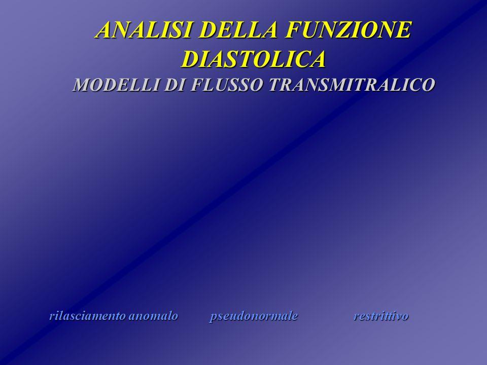 ANALISI DELLA FUNZIONE DIASTOLICA MODELLI DI FLUSSO TRANSMITRALICO