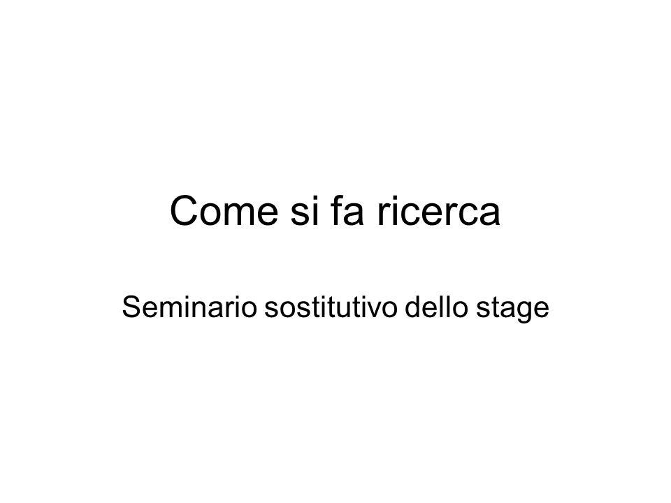 Seminario sostitutivo dello stage