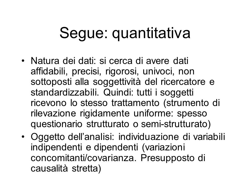 Segue: quantitativa