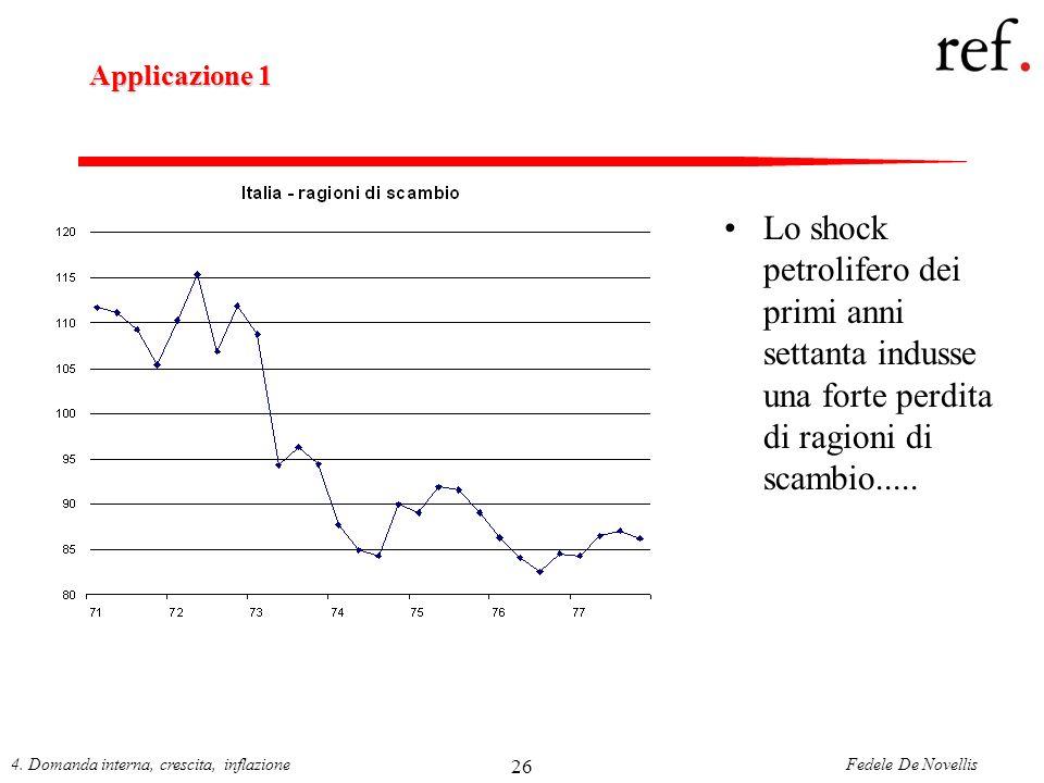 Applicazione 1 Lo shock petrolifero dei primi anni settanta indusse una forte perdita di ragioni di scambio.....