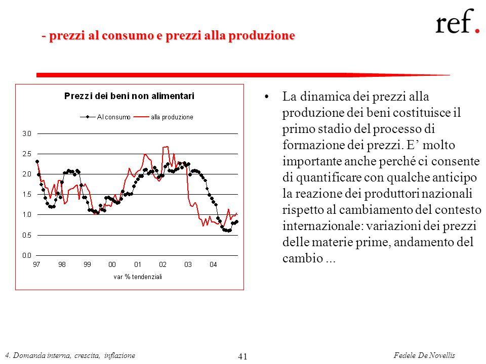 - prezzi al consumo e prezzi alla produzione