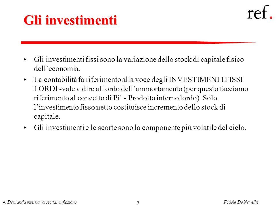 Gli investimenti Gli investimenti fissi sono la variazione dello stock di capitale fisico dell'economia.