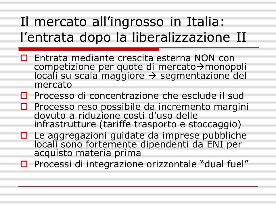 Il mercato all'ingrosso in Italia: l'entrata dopo la liberalizzazione II