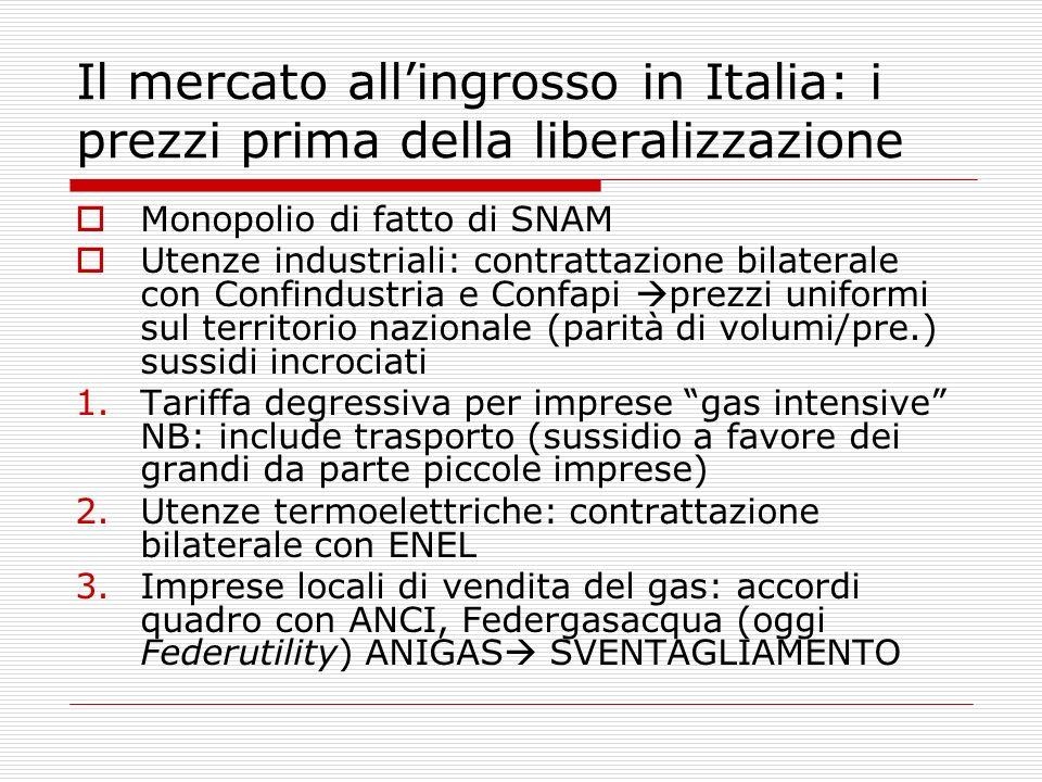 Il mercato all'ingrosso in Italia: i prezzi prima della liberalizzazione