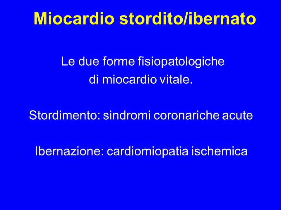 Miocardio stordito/ibernato