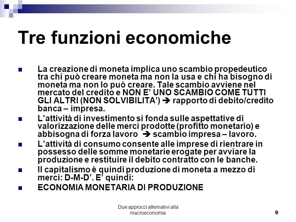 Tre funzioni economiche