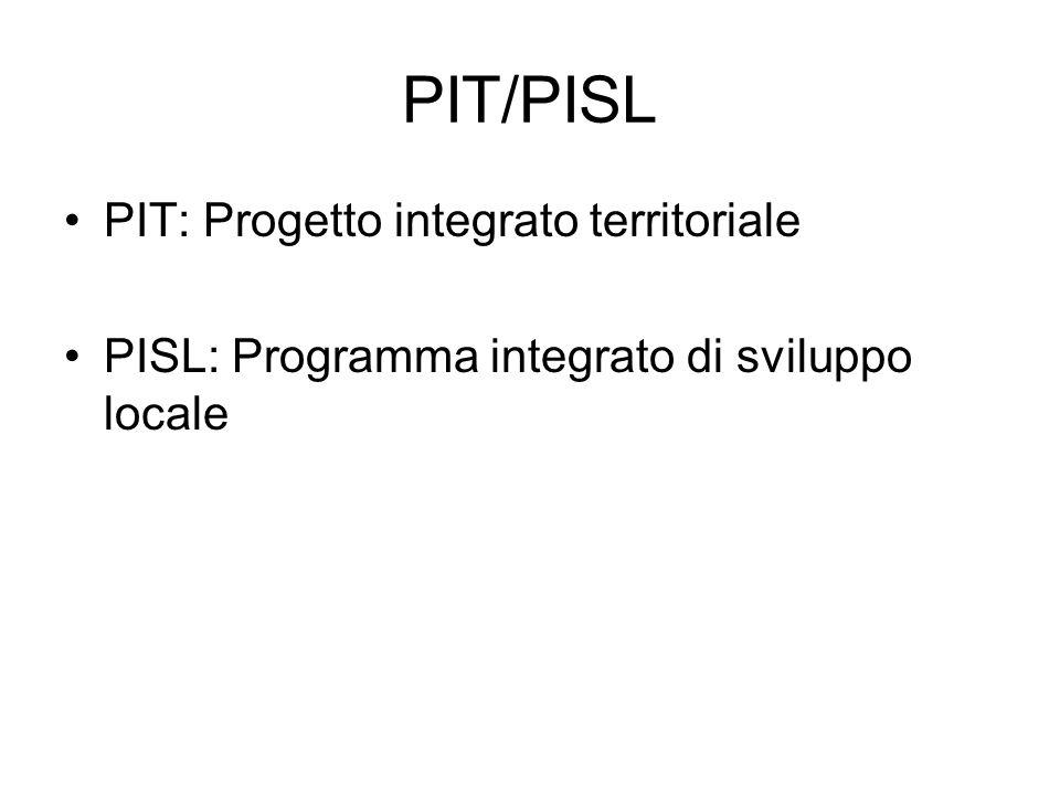 PIT/PISL PIT: Progetto integrato territoriale