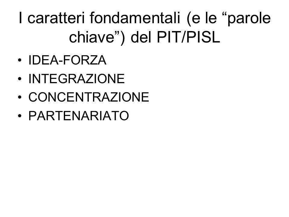 I caratteri fondamentali (e le parole chiave ) del PIT/PISL