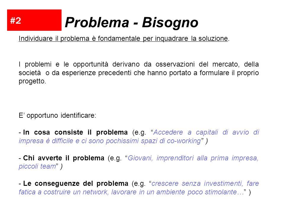 #2 Problema - Bisogno. Individuare il problema è fondamentale per inquadrare la soluzione.