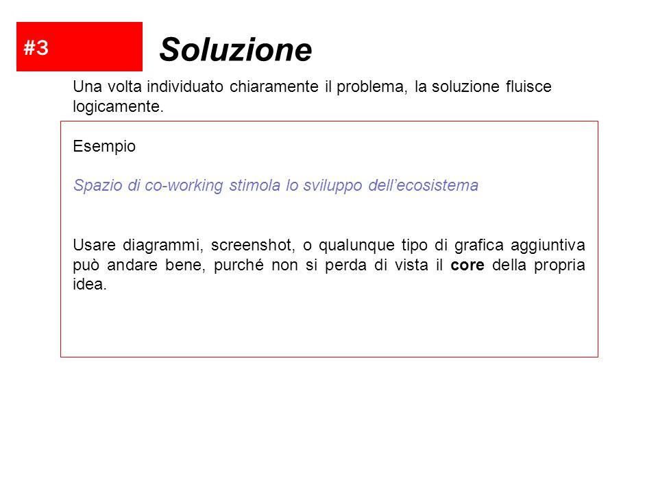 #3 Soluzione. Una volta individuato chiaramente il problema, la soluzione fluisce logicamente. Esempio.