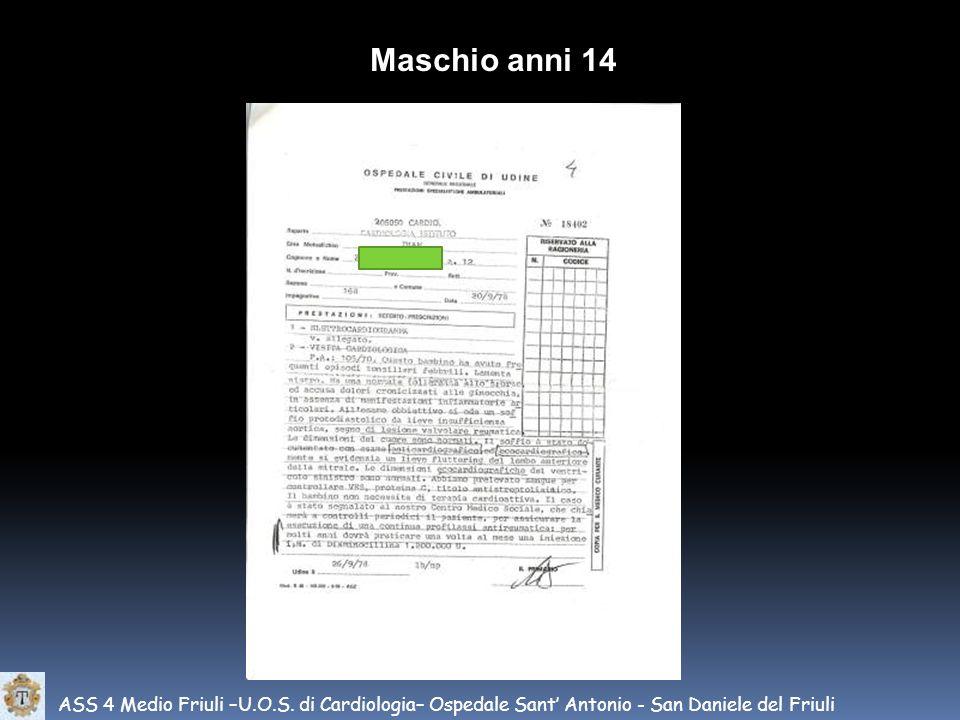 Maschio anni 14 ASS 4 Medio Friuli –U.O.S.