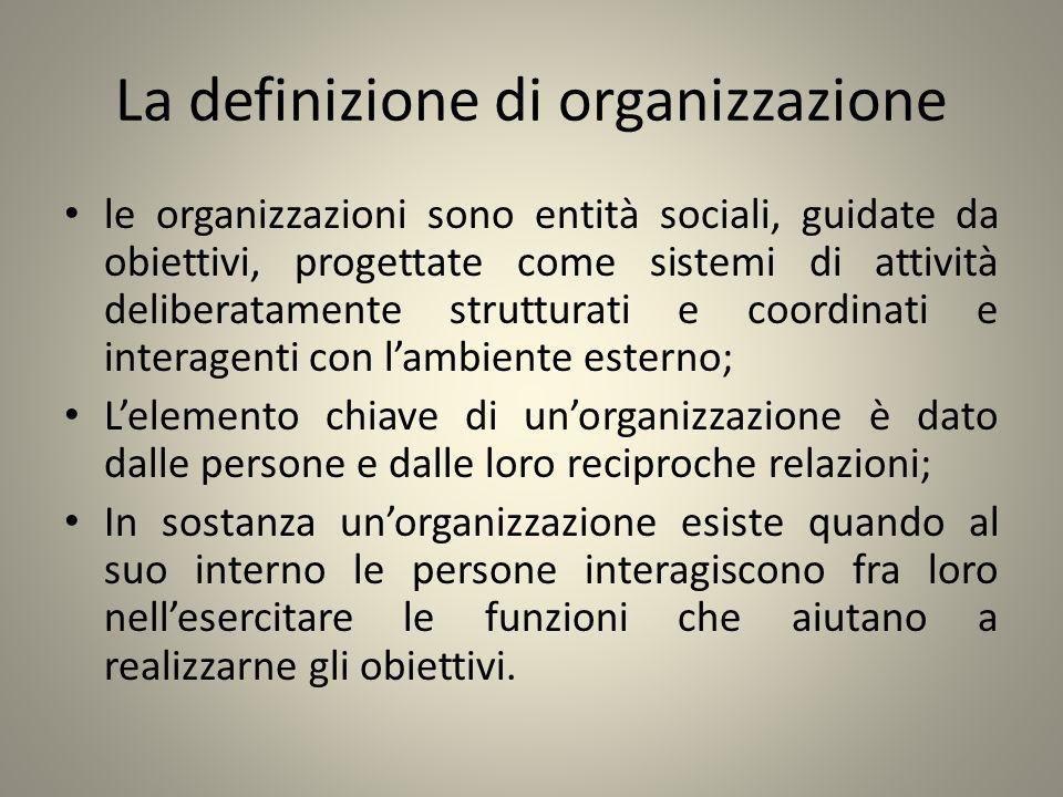 La definizione di organizzazione