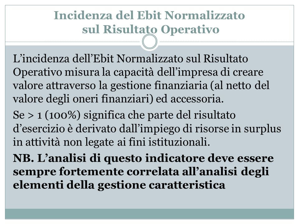 Incidenza del Ebit Normalizzato sul Risultato Operativo
