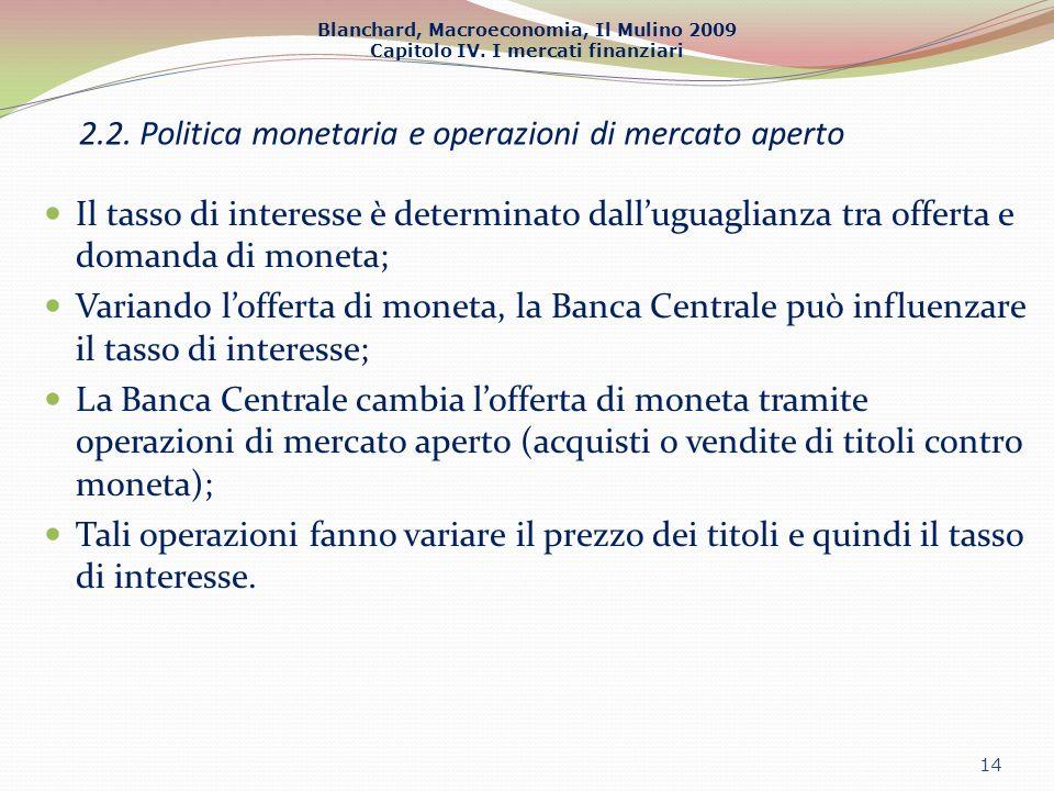 2.2. Politica monetaria e operazioni di mercato aperto