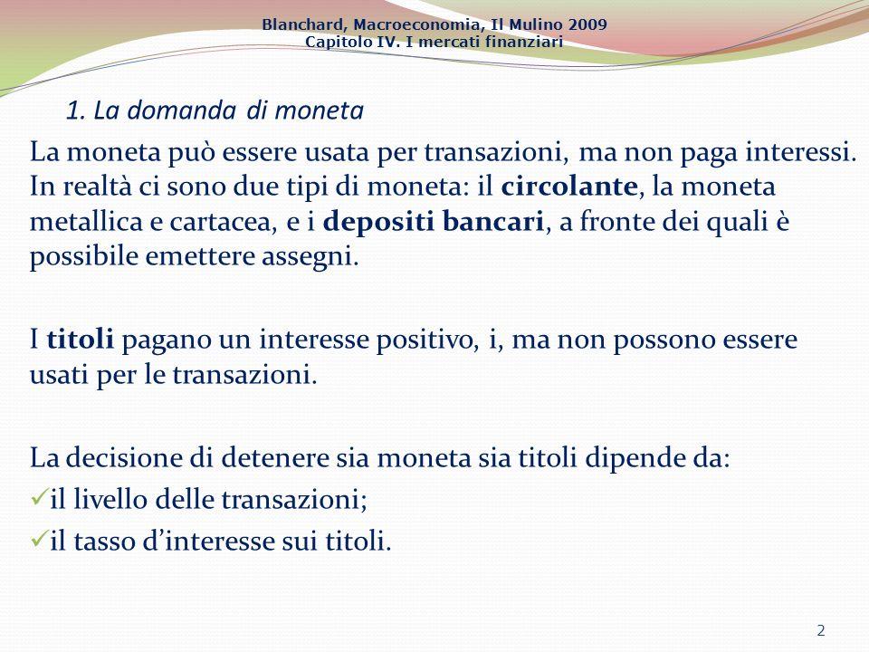 1. La domanda di moneta