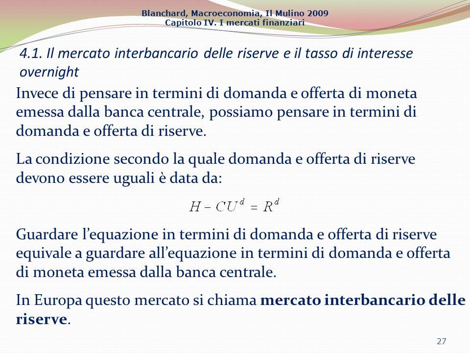 4.1. Il mercato interbancario delle riserve e il tasso di interesse overnight