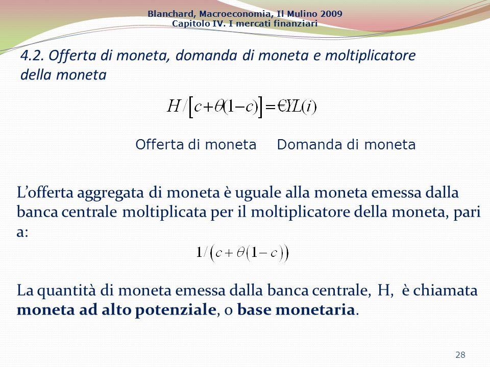 4.2. Offerta di moneta, domanda di moneta e moltiplicatore della moneta