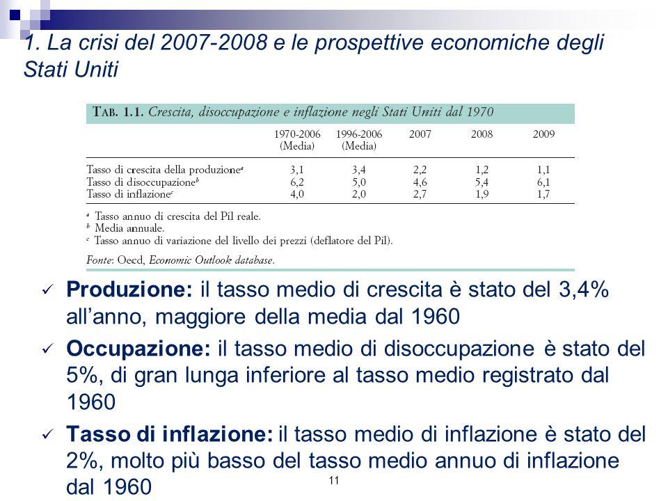 1. La crisi del 2007-2008 e le prospettive economiche degli Stati Uniti