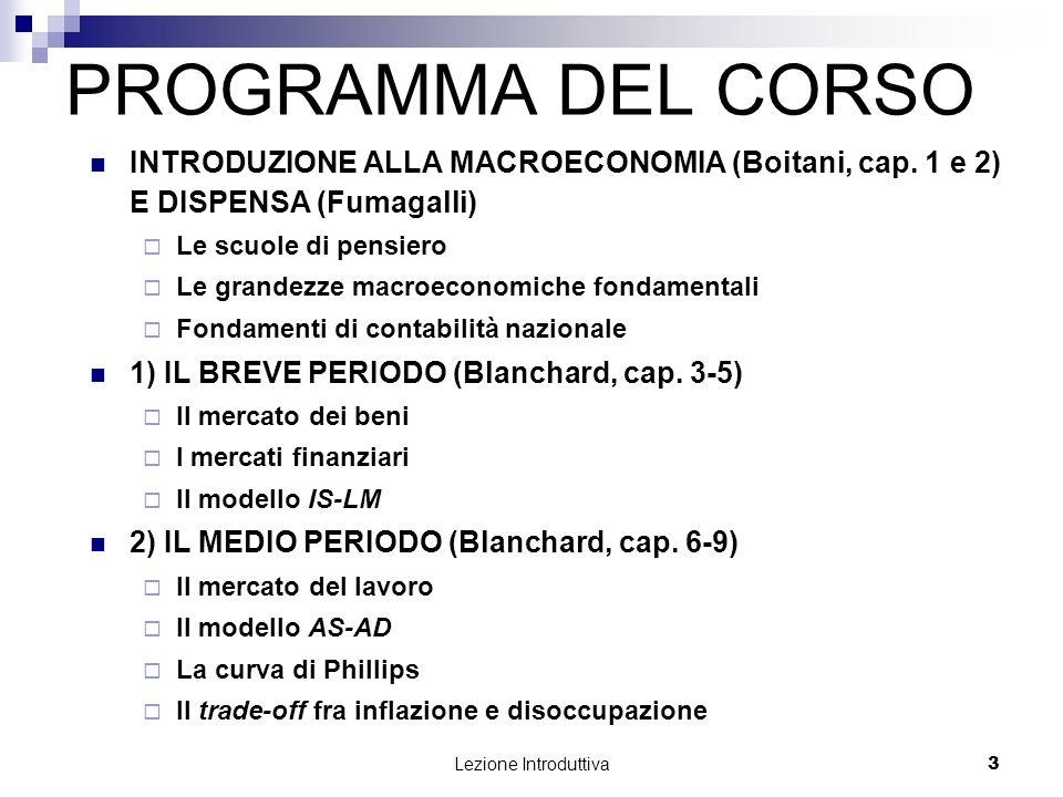 PROGRAMMA DEL CORSO INTRODUZIONE ALLA MACROECONOMIA (Boitani, cap. 1 e 2) E DISPENSA (Fumagalli) Le scuole di pensiero.