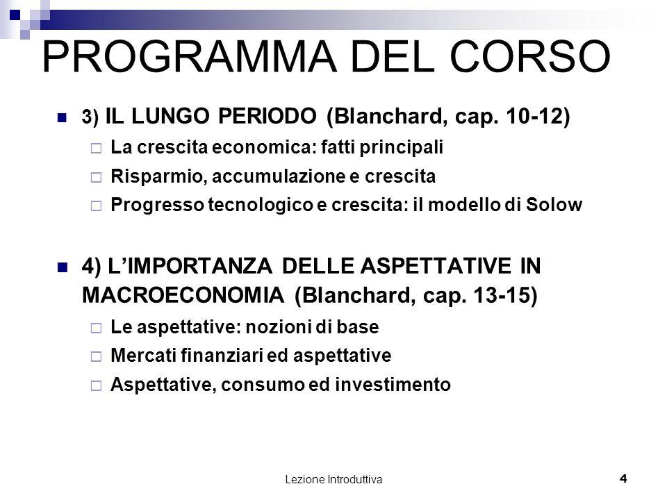 PROGRAMMA DEL CORSO 3) IL LUNGO PERIODO (Blanchard, cap. 10-12) La crescita economica: fatti principali.