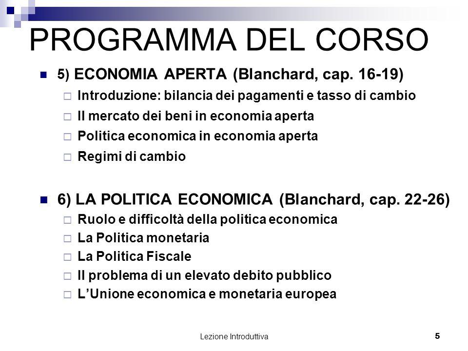 PROGRAMMA DEL CORSO 6) LA POLITICA ECONOMICA (Blanchard, cap. 22-26)