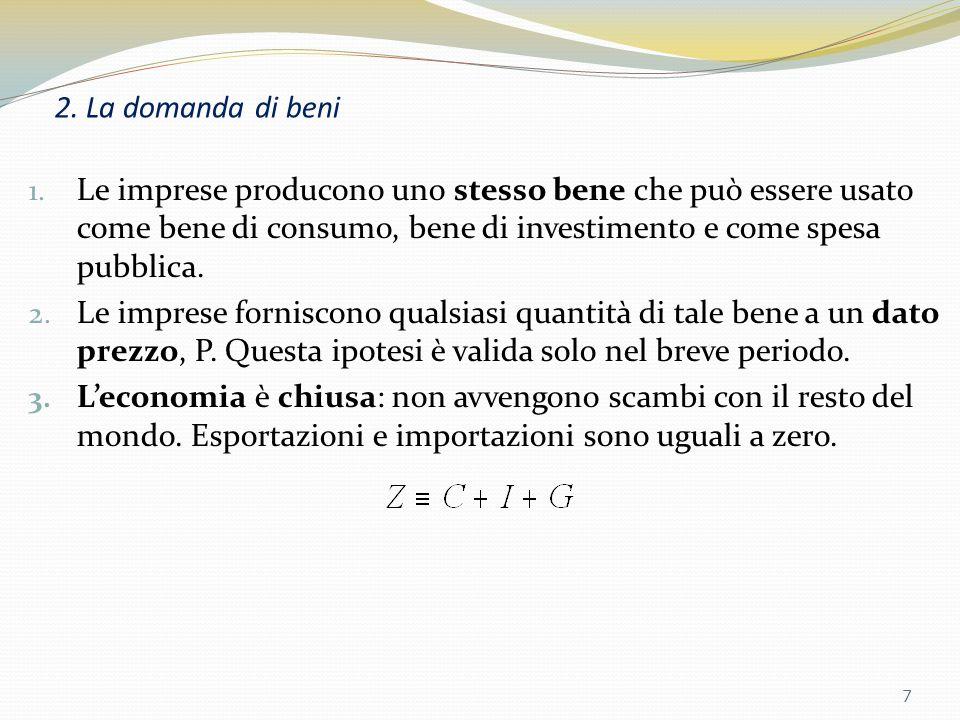 2. La domanda di beni Le imprese producono uno stesso bene che può essere usato come bene di consumo, bene di investimento e come spesa pubblica.