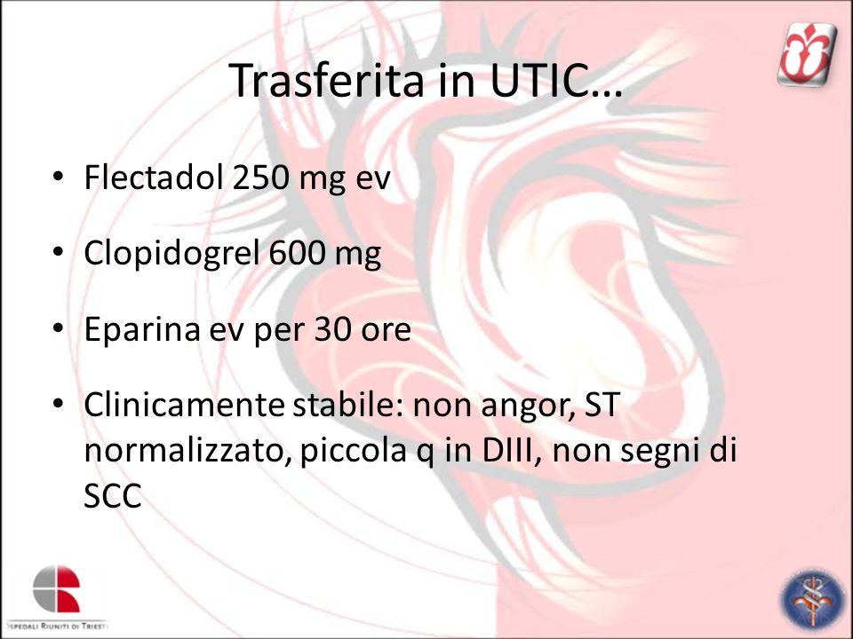 Trasferita in UTIC… Flectadol 250 mg ev Clopidogrel 600 mg