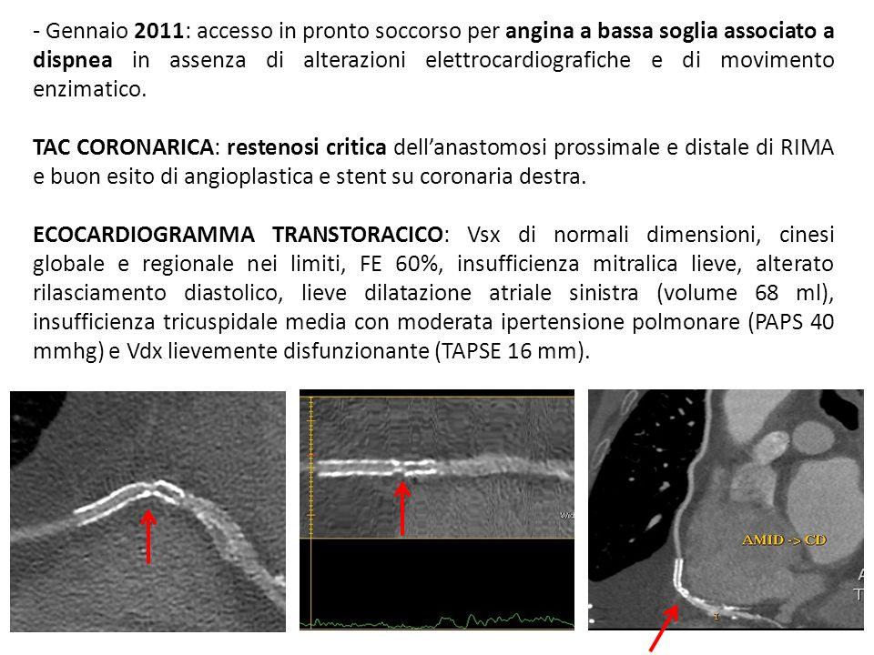 - Gennaio 2011: accesso in pronto soccorso per angina a bassa soglia associato a dispnea in assenza di alterazioni elettrocardiografiche e di movimento enzimatico.